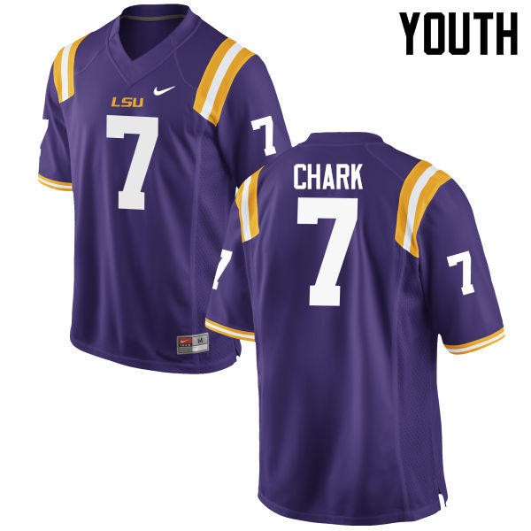Youth LSU Tigers #7 D.J. Chark College Football Jerseys Game-Purple