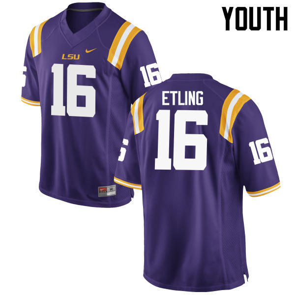 Youth LSU Tigers #16 Danny Etling College Football Jerseys Game-Purple
