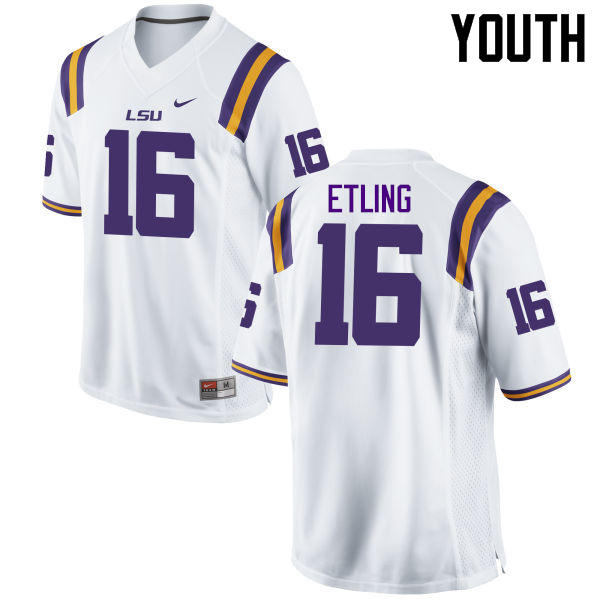 Youth LSU Tigers #16 Danny Etling College Football Jerseys Game-White