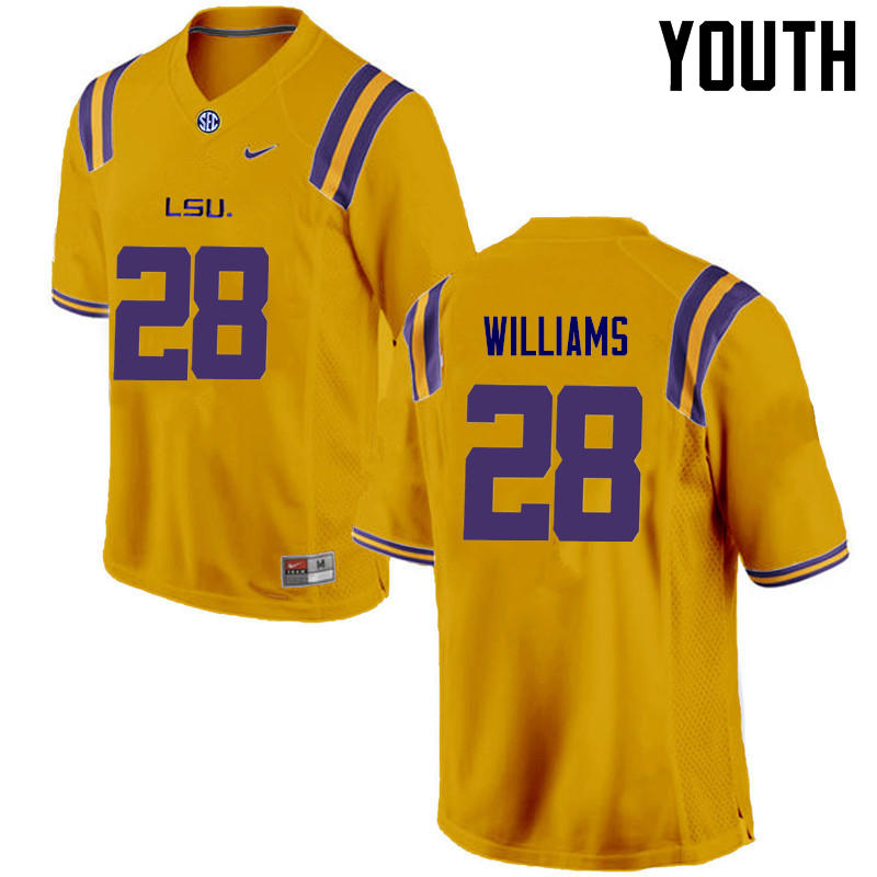 Youth LSU Tigers #28 Darrel Williams College Football Jerseys Game-Gold