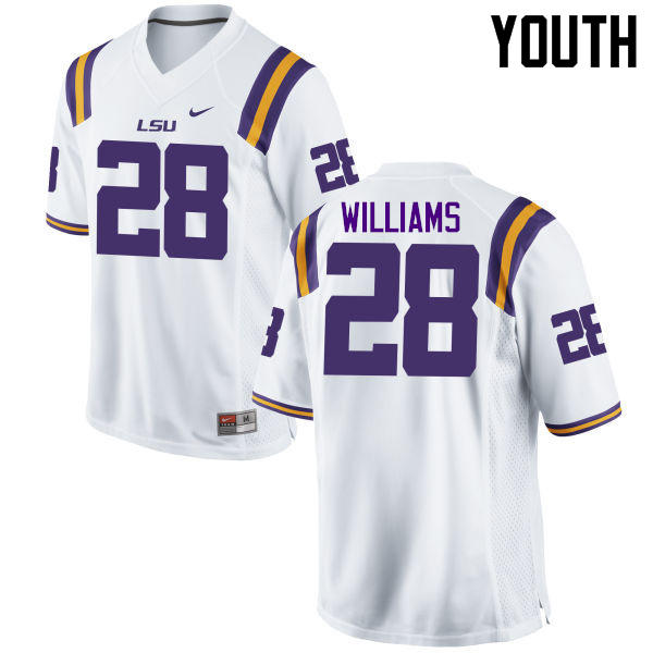 Youth LSU Tigers #28 Darrel Williams College Football Jerseys Game-White