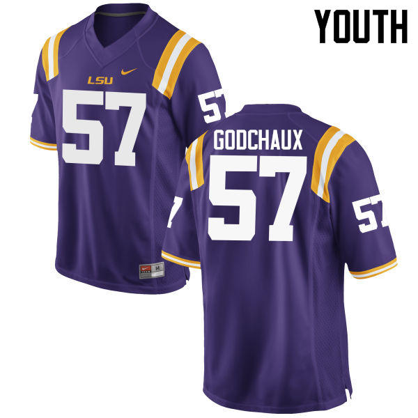 Youth LSU Tigers #57 Davon Godchaux College Football Jerseys Game-Purple