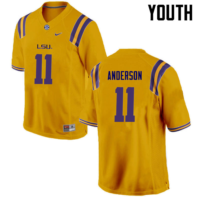 Youth LSU Tigers #11 Dee Anderson College Football Jerseys Game-Gold