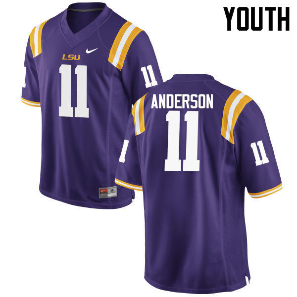 Youth LSU Tigers #11 Dee Anderson College Football Jerseys Game-Purple