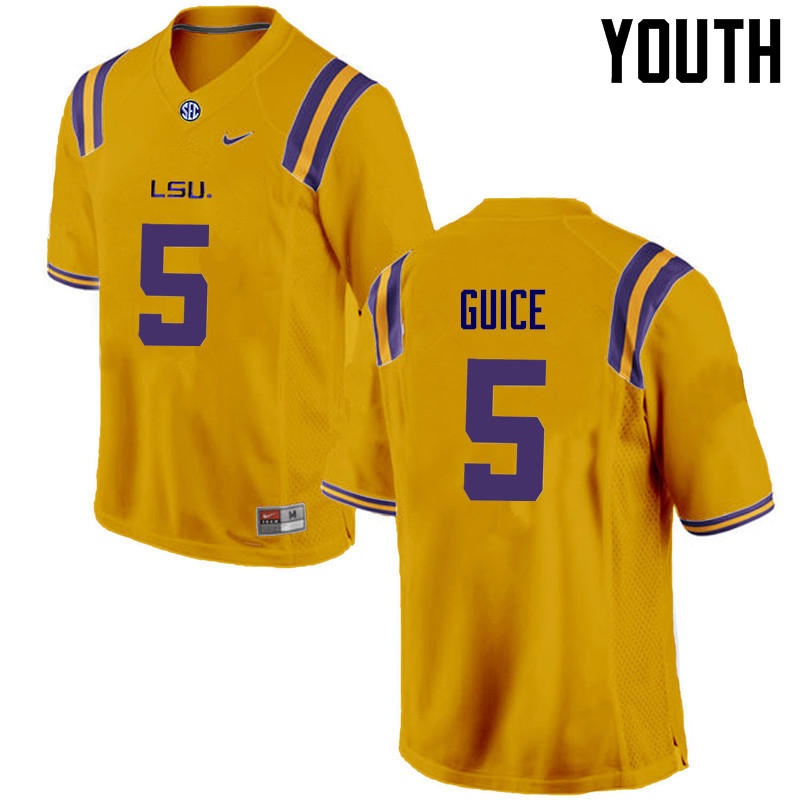 Youth LSU Tigers #5 Derrius Guice College Football Jerseys Game-Gold