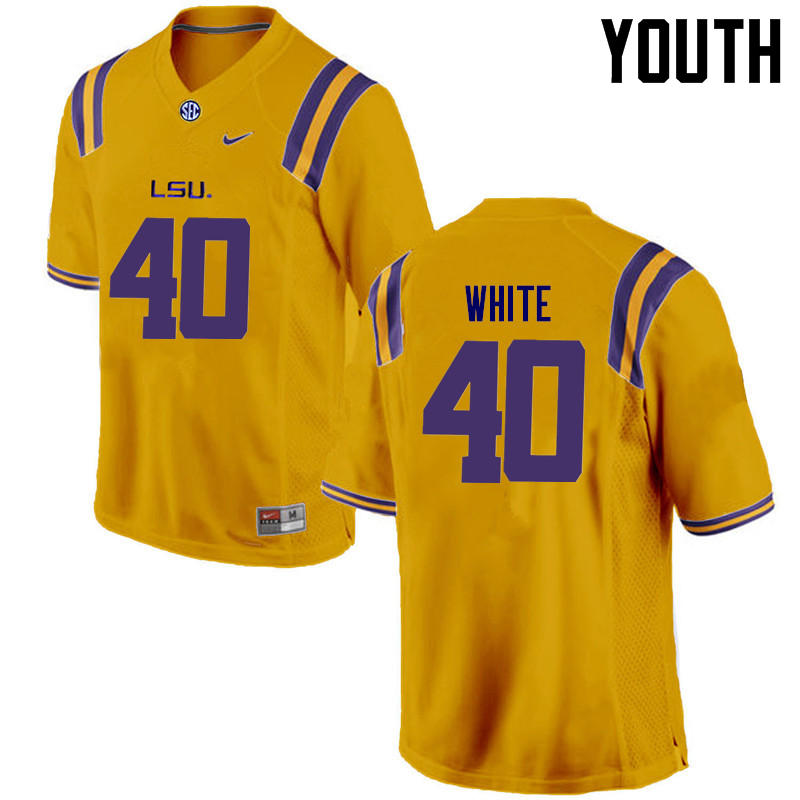 Youth LSU Tigers #40 Devin White College Football Jerseys Game-Gold