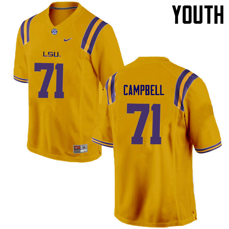 Youth LSU Tigers #71 Donavaughn Campbell College Football Jerseys Game-Gold