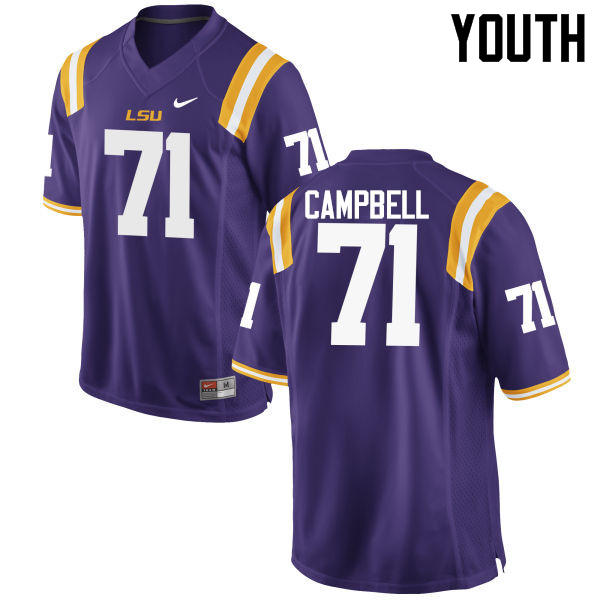 Youth LSU Tigers #71 Donavaughn Campbell College Football Jerseys Game-Purple