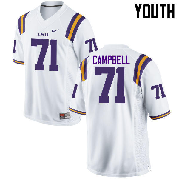 Youth LSU Tigers #71 Donavaughn Campbell College Football Jerseys Game-White