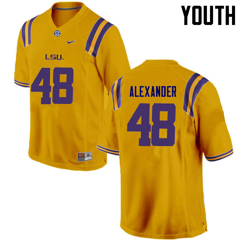Youth LSU Tigers #48 Donnie Alexander College Football Jerseys Game-Gold