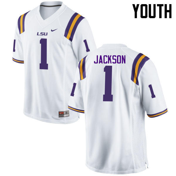 Youth LSU Tigers #1 Donte Jackson College Football Jerseys Game-White