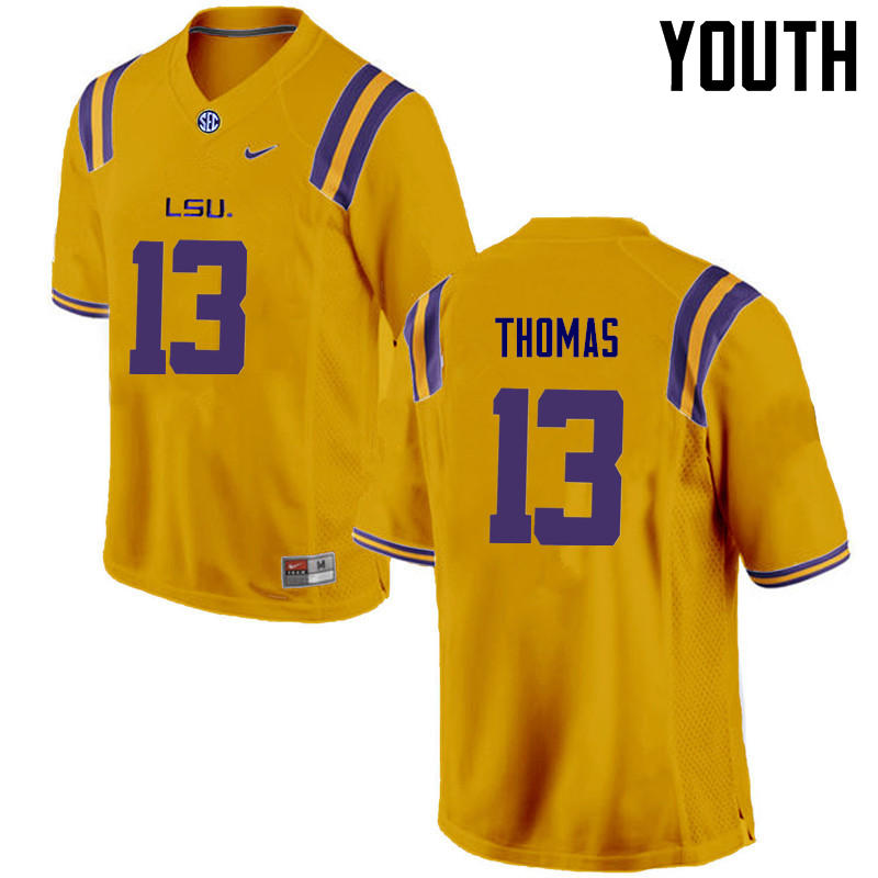 Youth LSU Tigers #13 Dwayne Thomas College Football Jerseys Game-Gold