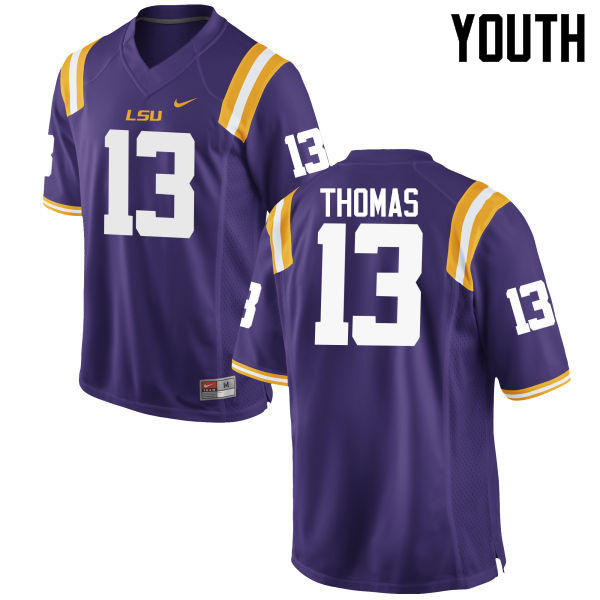 Youth LSU Tigers #13 Dwayne Thomas College Football Jerseys Game-Purple
