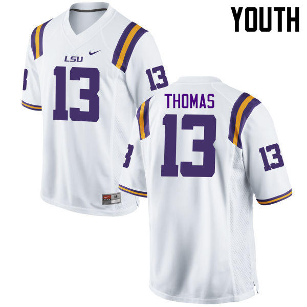 Youth LSU Tigers #13 Dwayne Thomas College Football Jerseys Game-White