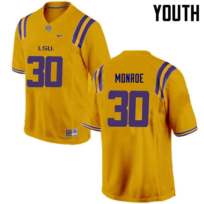 Youth LSU Tigers #30 Eric Monroe College Football Jerseys Game-Gold