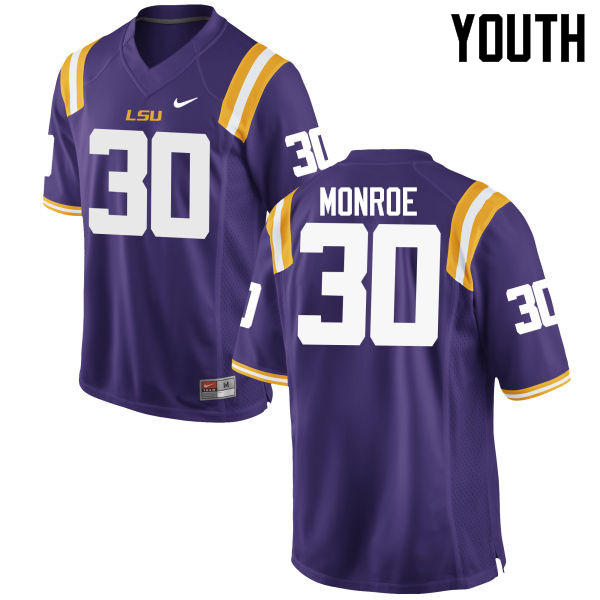 Youth LSU Tigers #30 Eric Monroe College Football Jerseys Game-Purple