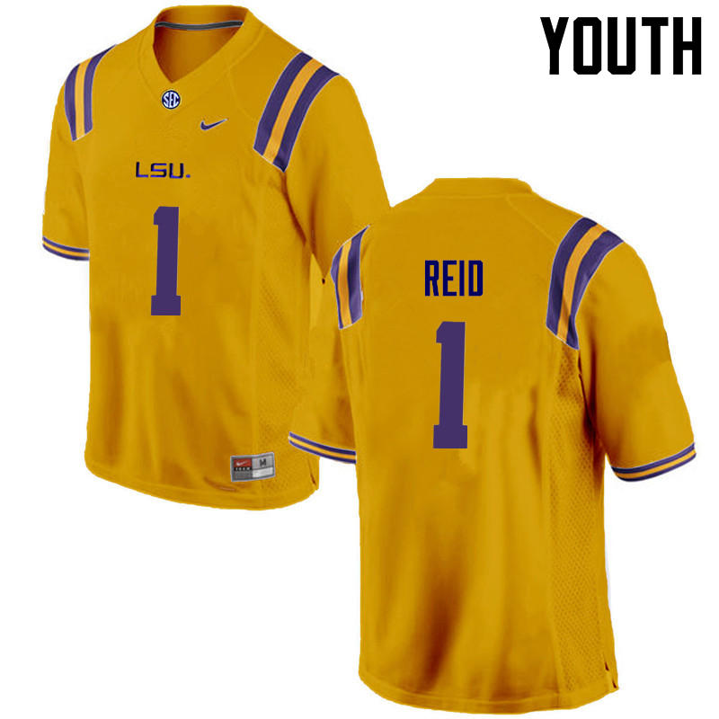Youth LSU Tigers #1 Eric Reid College Football Jerseys Game-Gold