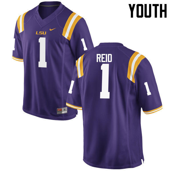 Youth LSU Tigers #1 Eric Reid College Football Jerseys Game-Purple