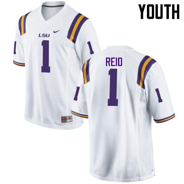 Youth LSU Tigers #1 Eric Reid College Football Jerseys Game-White