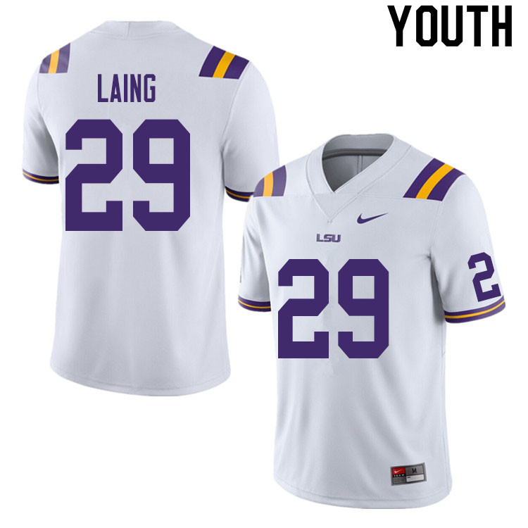 Youth #29 Ethan Laing LSU Tigers College Football Jerseys Sale-White