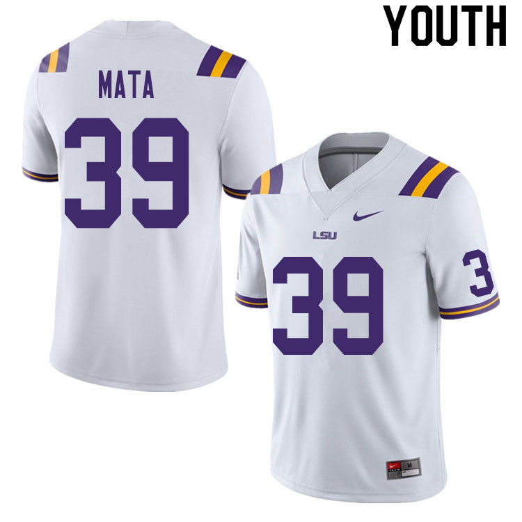 Youth #39 Ezekeal Mata LSU Tigers College Football Jerseys Sale-White