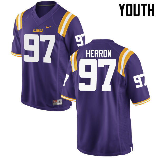 Youth LSU Tigers #97 Frank Herron College Football Jerseys Game-Purple