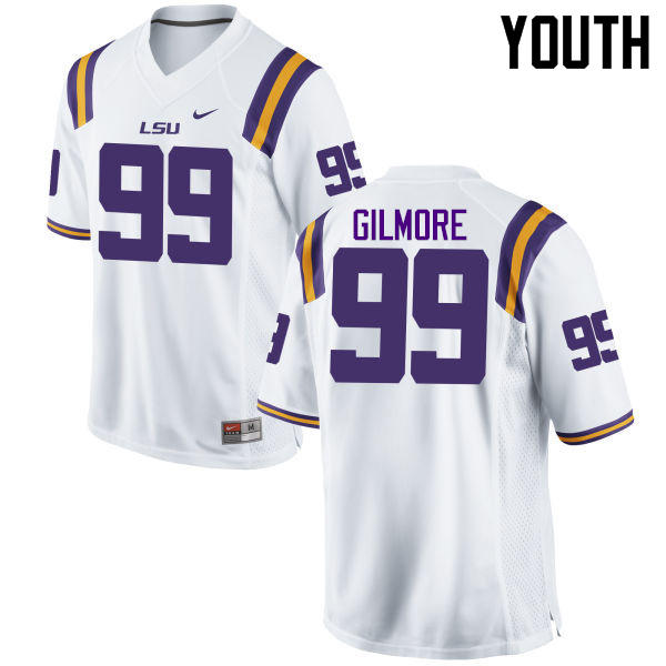 Youth LSU Tigers #99 Greg Gilmore College Football Jerseys Game-White