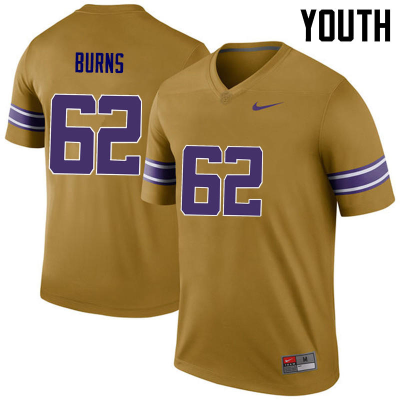Youth LSU Tigers #62 Hunter Burns College Football Jerseys Game-Legend
