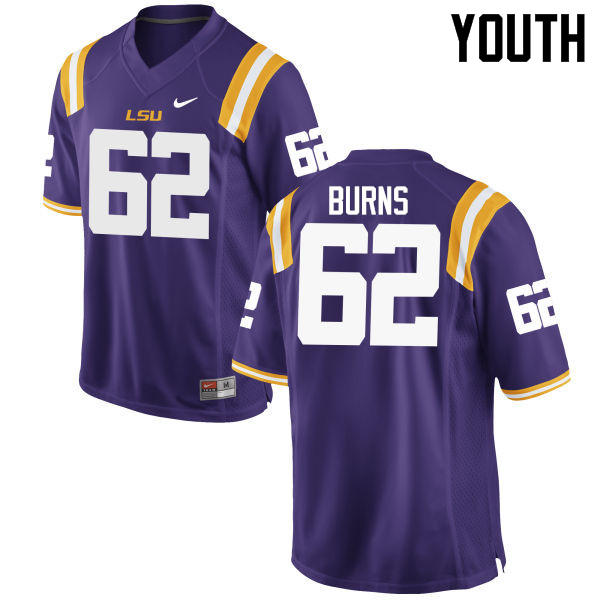 Youth LSU Tigers #62 Hunter Burns College Football Jerseys Game-Purple