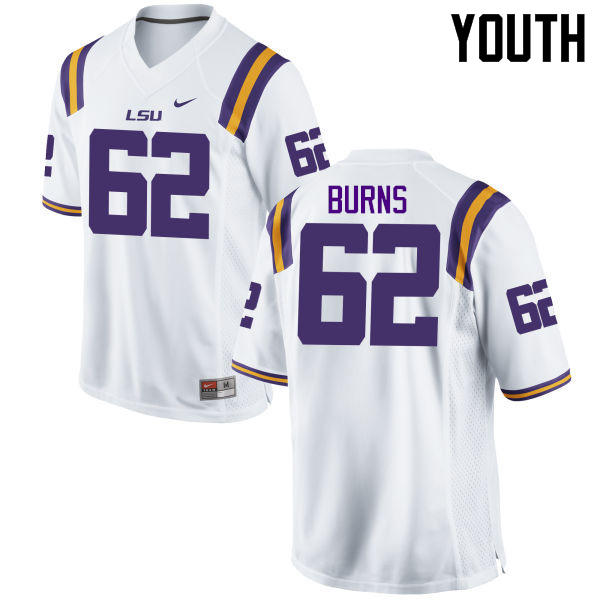 Youth LSU Tigers #62 Hunter Burns College Football Jerseys Game-White
