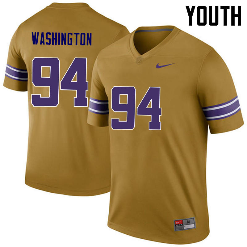 Youth LSU Tigers #94 Isaiah Washington College Football Jerseys Game-Legend