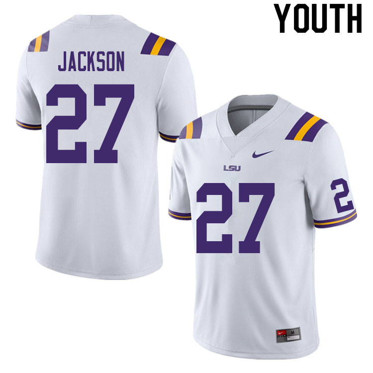 Youth #27 Jack Jackson LSU Tigers College Football Jerseys Sale-White