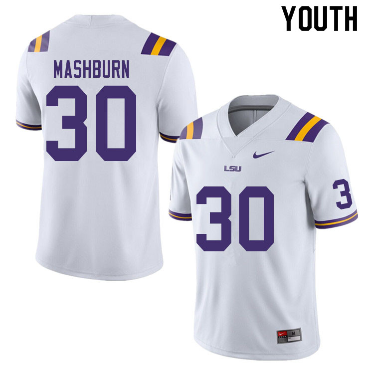 Youth #30 Jack Mashburn LSU Tigers College Football Jerseys Sale-White
