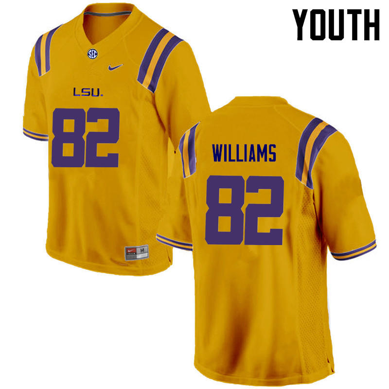 Youth LSU Tigers #82 Jalen Williams College Football Jerseys Game-Gold