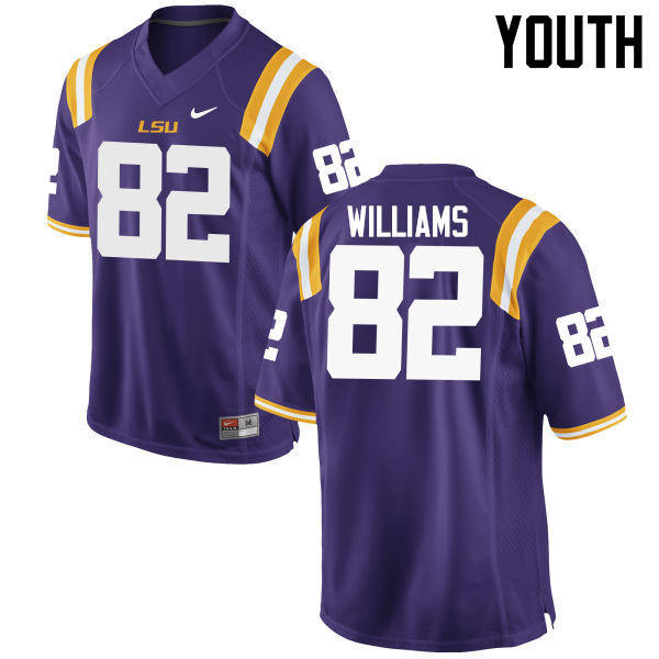 Youth LSU Tigers #82 Jalen Williams College Football Jerseys Game-Purple