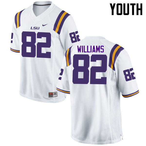 Youth LSU Tigers #82 Jalen Williams College Football Jerseys Game-White