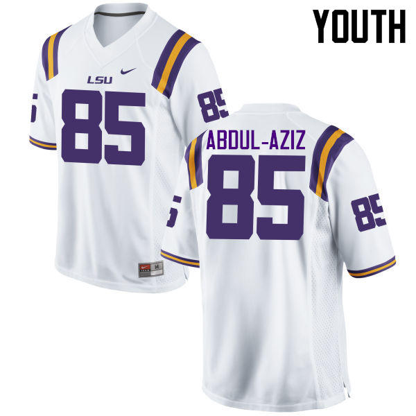 Youth LSU Tigers #85 Jamil Abdul-Aziz College Football Jerseys Game-White