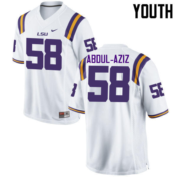 Youth LSU Tigers #58 Jibrail Abdul-Aziz College Football Jerseys Game-White