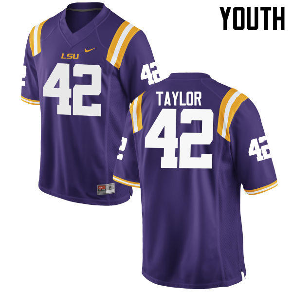 Youth LSU Tigers #42 Jim Taylor College Football Jerseys Game-Purple