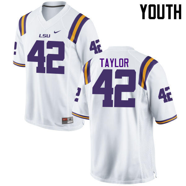 Youth LSU Tigers #42 Jim Taylor College Football Jerseys Game-White
