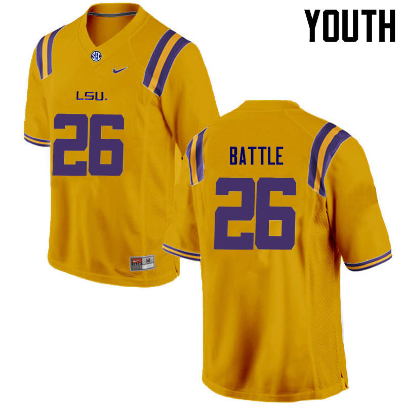 Youth LSU Tigers #26 John Battle College Football Jerseys Game-Gold