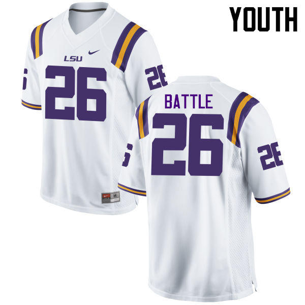 Youth LSU Tigers #26 John Battle College Football Jerseys Game-White