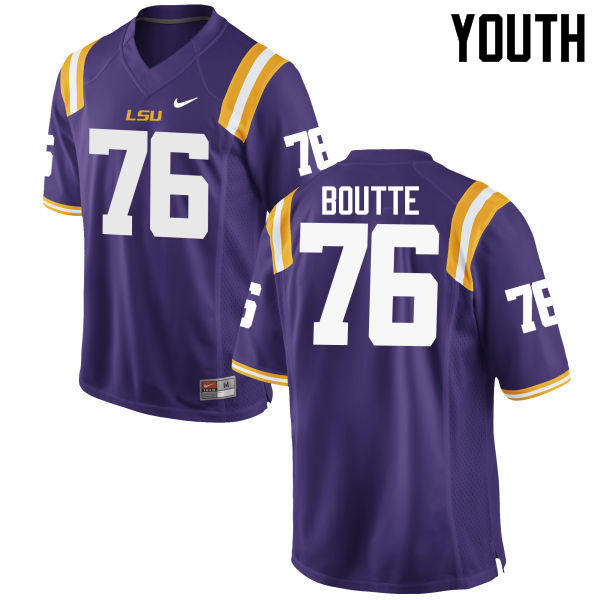 Youth LSU Tigers #76 Josh Boutte College Football Jerseys Game-Purple