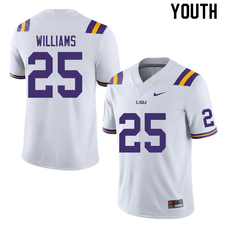 Youth #25 Josh Williams LSU Tigers College Football Jerseys Sale-White