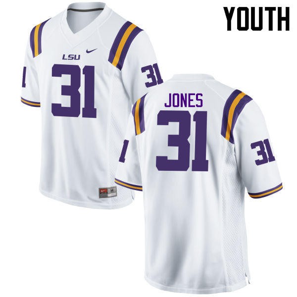 Youth LSU Tigers #31 Justin Jones College Football Jerseys Game-White
