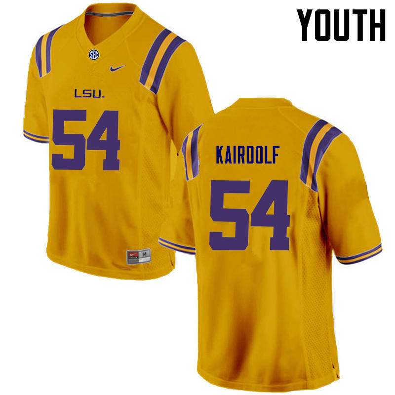 Youth LSU Tigers #54 Justin Kairdolf College Football Jerseys Game-Gold
