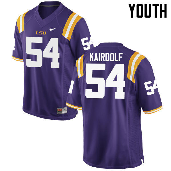 Youth LSU Tigers #54 Justin Kairdolf College Football Jerseys Game-Purple