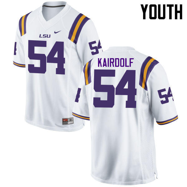 Youth LSU Tigers #54 Justin Kairdolf College Football Jerseys Game-White