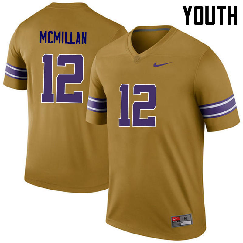 Youth LSU Tigers #12 Justin McMillan College Football Jerseys Game-Legend