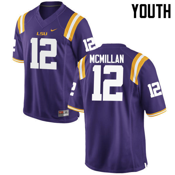 Youth LSU Tigers #12 Justin McMillan College Football Jerseys Game-Purple
